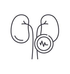 Kidney diseases icon linear isolated vector