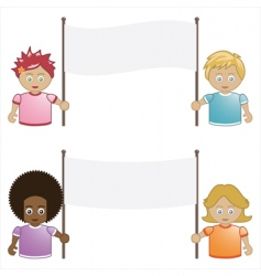 kids holding banners vector image