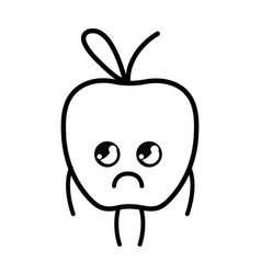 Line kawaii cute sad apple fruit vector