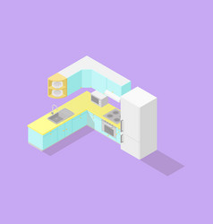 low poly isometric kitchen set vector image