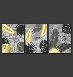 luxury cards collection with marble texture vector image