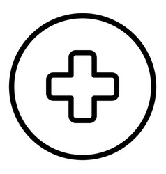medical cross in a circle line icon emergency vector image