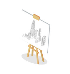 modern city mockup on stand colorful vector image