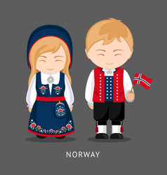 Norwegians in national dress with a flag vector