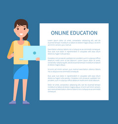 online education poster text woman with notebook vector image