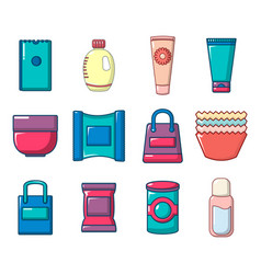 package icon set cartoon style vector image