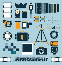Photography and Camera Objects vector image