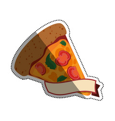 Pizza slice vegetarian banner vector