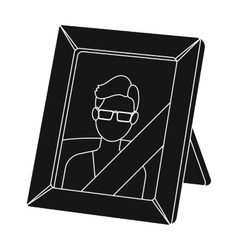 Portrait of deceased person icon in black style vector