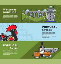 Portugal travel tourism symbols banners of vector