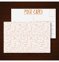 Postcard with funny cartoon sketch cats vector image