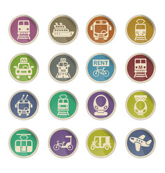 Public transport icon set vector
