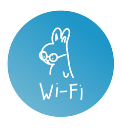 rabbit one line art logo design wifi vector image