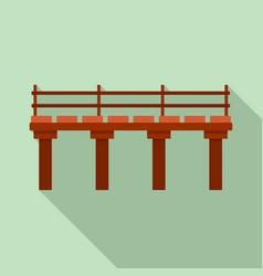 river bridge icon flat style vector image