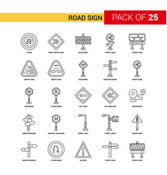 road sign black line icon - 25 business outline vector image
