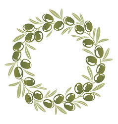 Round ornament wreath of green olives vector