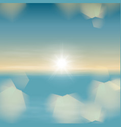 sea sunset with bright the sun and light on lens vector image