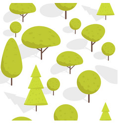 seamless cartoon isometric trees pattern vector image