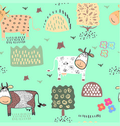 Seamless pattern background with cow vector