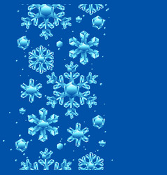 seamless pattern with crystal snowflakes vector image