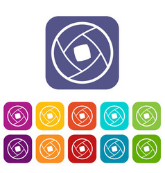 Semi-closed lens icons set vector