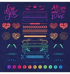 Set of frames hearts and borders design elements vector