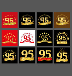 set of number ninety five year 95 year vector image