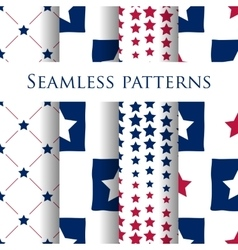 Set seamless patriotic pattern with blue stars vector