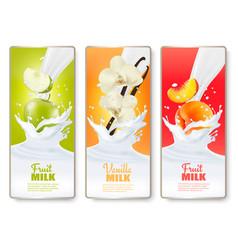 set three labels fruit in milk splashes vector image