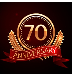 Seventy years anniversary celebration with golden vector