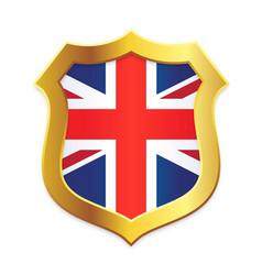shield gold edge with uk united kingdom flag vector image
