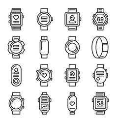 smart watch and fitness bracelet icons set on vector image