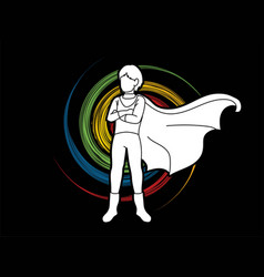 Super hero man action cartoon graphic vector