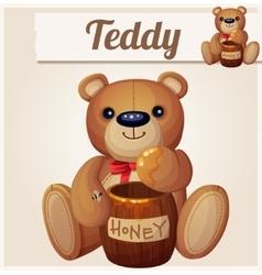 teddy bear and barrel honey cartoon vector image