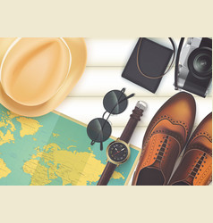 Top view on travel and vacations concept vector