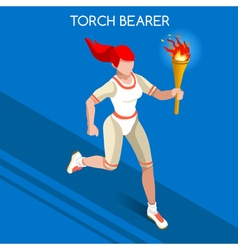 Torchbearer 2016 Summer Games Isometric 3D vector image
