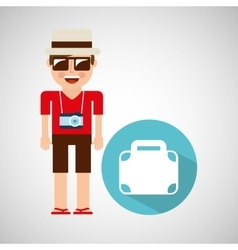 tourist man with camera and briefcase vector image