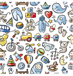 Toys for baby boy seamless pattern design vector