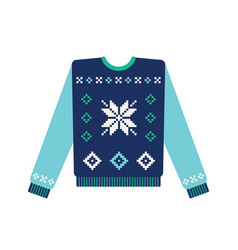 Ugly christmas sweater with snowflake vector