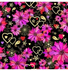 Valentine seamless dark floral pattern vector image