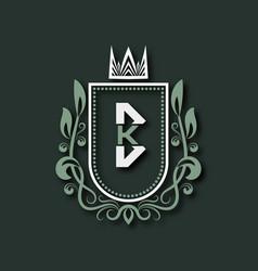 Vintage premium monogram letter b heraldic vector