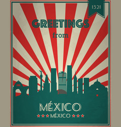 vintage touristic greeting card - mexico vector image
