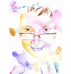 Watercolor portrait vector