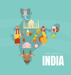 welcome to india banner template with indian map vector image