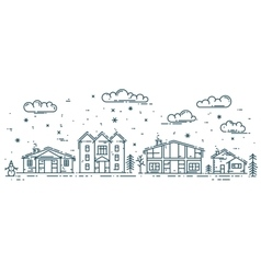 Winter Cityscape with houses vector