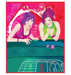 Woman at casino vector