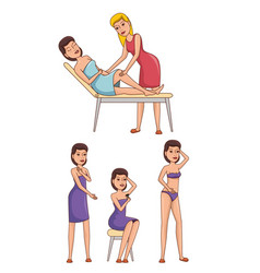 Woman body with hair removal icons vector