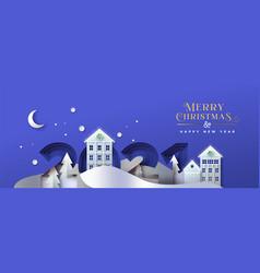 Year 2021 papercut winter house card vector