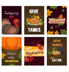 happy thanksgiving cards celebration banner design vector image vector image