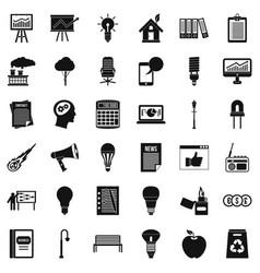Lantern icons set simple style vector